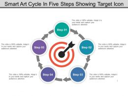 Smart Art Cycle In Five Steps Showing Target Icon