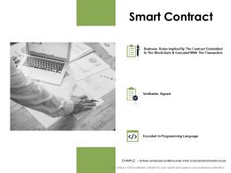 Smart Contract Business Technology Ppt Powerpoint Presentation Gallery Example