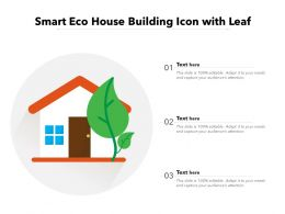 Smart Eco House Building Icon With Leaf