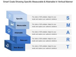 Smart Goals Showing Specific Measurable And Attainable In Vertical Manner