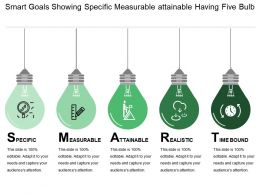 Smart Goals Showing Specific Measurable Attainable Having Five Bulb