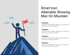 Smart Icon Attainable Showing Man On Mountain