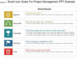 Smart Icon Goals For Project Management Ppt Example