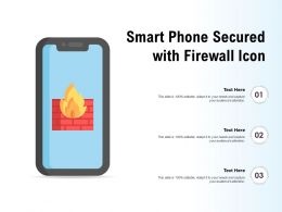 Smart Phone Secured With Firewall Icon