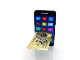 Smart Phone With Credit Card On White Background Stock Photo