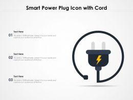 Smart Power Plug Icon With Cord