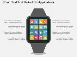 Smart Watch With Android Applications Flat Powerpoint Desgin