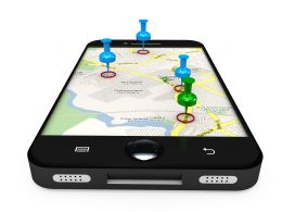 Smartphone With Map With Clipart Pins Stock Photo