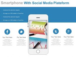 Smartphone With Social Media Plateform Flat Powerpoint Design