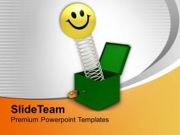 Smiley Coming Out Of Green Box Happiness Powerpoint Templates Ppt Themes And Graphics 0213
