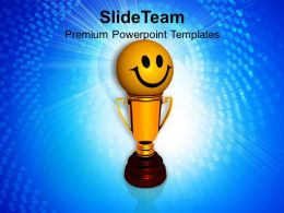 Smiley Face On Golden Trophy Winner PowerPoint Templates PPT Themes And Graphics 0213