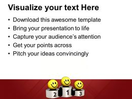 Smileys On Winner Podium Competition Powerpoint Templates Ppt Themes And Graphics