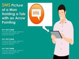Sms Picture Of A Man Holding A Tab With An Arrow Pointing