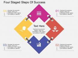 Sn Four Staged Steps Of Success Flat Powerpoint Design