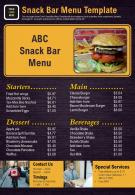 Snack Bar Menu Template Presentation Report Infographic PPT PDF Document