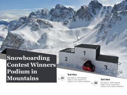 Snowboarding Contest Winners Podium In Mountains
