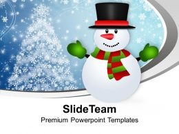 Snowman Cartoon Character X-max PowerPoint Templates PPT Themes And Graphics 0113