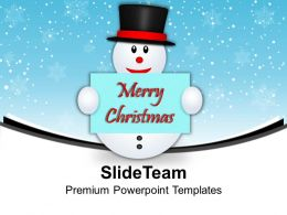 Snowman Holding Postcard Christmas PowerPoint Templates PPT Themes And Graphics