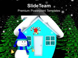 Snowman In Front of Hut Night Scene Christmas Eve PowerPoint Templates PPT Themes And Graphics