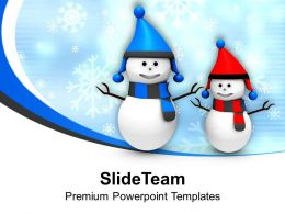 Snowman In Red And Black PowerPoint Templates PPT Themes And Graphics 0113