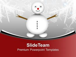 Snowman On Snowy Field Happiness Christmas PowerPoint Templates PPT Themes And Graphics