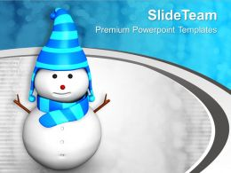 Snowman On Stylish Background PowerPoint Templates PPT Themes And Graphics 0113