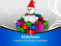 Snowman Sitting Between Gifts Christmas Eve PowerPoint Templates PPT Themes And Graphics