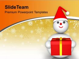 Snowman Wearing Santa Hat With Gifts Christmas PowerPoint Templates PPT Themes And Graphics