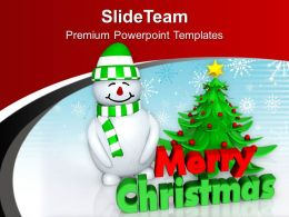 Snowman Wishing Christmas And New Year PowerPoint Templates PPT Themes And Graphics