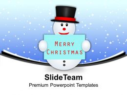 Snowman With Banner Merry Christmas Winter Powerpoint Templates Ppt Themes And Graphics 0113