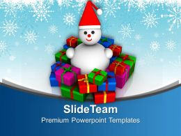 Snowman With Colorful Gifts Christmas And New Year Eve PowerPoint Templates PPT Themes And Graphics