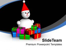 Snowman With Colorful Presents Festival Powerpoint Templates Ppt Themes And Graphics 0113