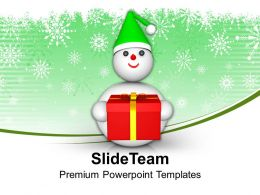 Snowman With Gift Celebration Powerpoint Templates Ppt Themes And Graphics 0113