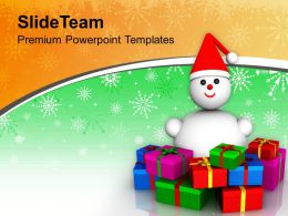 Snowman With Gifts Celebration Christmas PowerPoint Templates PPT Themes And Graphics