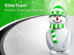 Snowman With Green Cap PowerPoint Templates PPT Themes And Graphics 0113