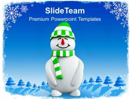 Snowman With Green Hat Christmas Cold Winter PowerPoint Templates PPT Backgrounds For Slides 0113