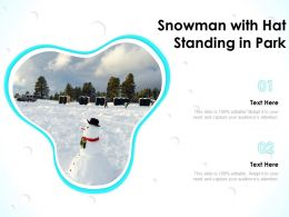 Snowman With Hat Standing In Park