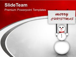 Snowman With Merry Christmas Banner PowerPoint Templates PPT Themes And Graphics 0113