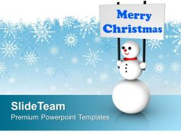 Snowman With Merry Christmas Festival PowerPoint Templates PPT Backgrounds For Slides 0113
