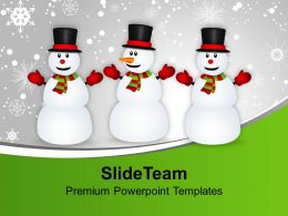 Snowmen Celebrating Christmas And New Year PowerPoint Templates PPT Themes And Graphics