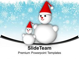 Snowmen On Snowflakes Background Christmas Eve PowerPoint Templates PPT Themes And Graphics