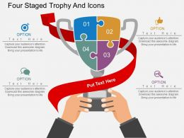 So Four Staged Trophy And Icons Flat Powerpoint Design
