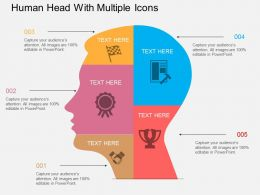 so Human Head With Multiple Icons Flat Powerpoint Design