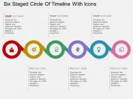 so Six Staged Circle Of Timeline With Icons Flat Powerpoint Design