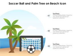 Soccer Ball And Palm Tree On Beach Icon