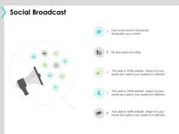 Social Broadcast Marketing Ppt Powerpoint Presentation Icon Templates