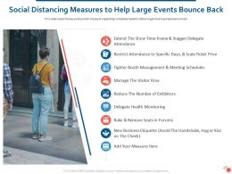 Social Distancing Measures To Help Large Events Bounce Back Ppt Diagrams
