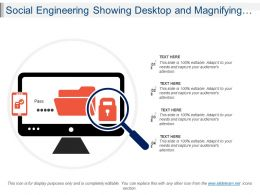 Social Engineering Showing Desktop And Magnifying Glass