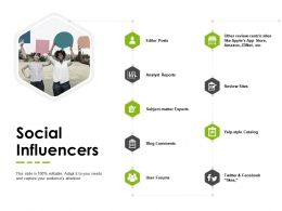 Social Influencers Review Sites Analyst Reports Ppt Powerpoint Presentation Infographics Layout