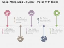 Social Media Apps On Linear Timeline With Target Flat Powerpoint Design
